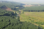 A southern view over the site at Whitrope. Felling of the Forestry Commission plantations have been taking place recently, with the area to the east of Whitrope currently being clear felled.