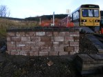 Baz continues his work on the bay platform wall, this weekend saw a start on laying the final brick course with the end of the wall now complete.
