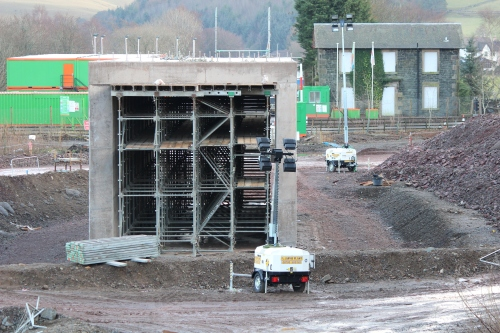 The completed box section for the new bridge which will replace the level crossing and provide access to the village from the A7.