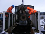 The engine being lifted into the Fowler