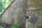 Some of the earlier repairs to the wing wall of Dalhousie Mains bridge which shows that not all repairs in the past have been so careful about matching the materials to the old structure.