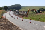The roadworks on the approach to the A7 crossing at Fallhill, with the new alignment of the road visible.