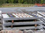 Sleepers with lugs for guard rails for use on viaducts and bridges.