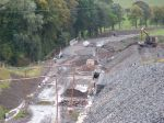 Looking south over UB011/069 and Lugate bridge, with ongoing work  on the track-bed and embankment.