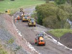 The cutting at Lugate with work progressing on the track-bed.