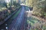 Looking south from Kingsgate bridge with the sleepers laid out waiting for the rails that will soon arrive.