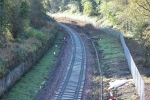 The curve which leads to the Glenesk viaduct. Note the trunking for the signalling runs alongside the track.