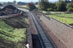 The view south towards Hardengreen viaduct taken from another new footbridge OB011/016.