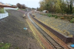 Looking south from Lady Brae showing all the work to stabilize the cutting sides. The track here awaits a ballast drop