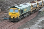 66610 sits alongside Lady Victoria pit on a ballast train.
