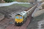 The train is awaiting return to Millerhill having dropped it's load of ballast further up the line.