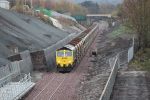 The front end of the ballast train just south of the platform at Newtongrange.