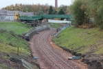 Looking south at footbridge FB011/018B with the last of the construction works being completed on the ramped access.
