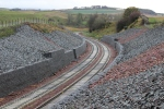 The 'S' bends at the bottom of Borthwick bank. Again on this section one line has rails laid, the other still awaits rails.