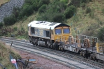 66739 'Bluebell Railway' sitting near the top of Borthwick bank, below OB011/036A Willowburn bridge.