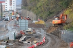 The section of the trackbed through the centre of Galashiels which is a hive of activity.