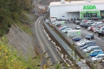 The very small area that was reserved for the railway at the back of the Asda super-market can be seen in this shot.