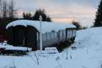 With dusk starting to close in, the exhibition and buffet coach present a very seasonal scene.