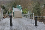 The approach down to the bridge with new handrails.