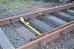 The point giving access to the stock siding, being trial fitted with a new tie bar to begin the process of connecting it up to the ground frame.