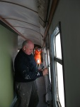 Bill and Alan working in the exhibition coach, getting everything ready for the new season.