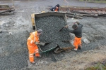 Two more barrow loads of aggregate are set for the journey down the back of the coaches to back-fill the bay platform drain.