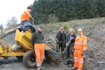 The team, Baz, Iain, Tony, Duncan and Jim near the end of play on Friday. A hard week, which has seen most of the work to complete the installation of the bay platform drain completed.