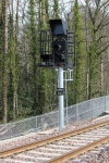 The signal guarding the approach to the station, complete with platform indicator.