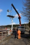 The signal lifted from its position on the pw trolleys and lowered onto its mounting.