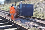 Alastair and Tony moving along the track ready for the next next load.