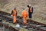 The team gauging and screwing down the section of track. It is seems a bit confusing for Andy!