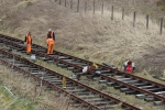 The pw team at work on the run-round track well into the cutting towards the tunnel.