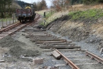The sleepers for the access to the bay platform roughly laid out ready for the rails to go back on.