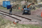 At the other end of the site more ballast is being laid to prepare this section of track for running.