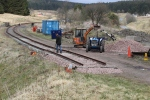 Iain working on the track whilst Tony loads one of the 'shrimps'.