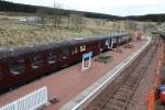 A new view of the platform at Whitrope. The buffet and exhibition coach open for visitors on the first day of the new season.