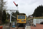 RB004 on another passenger run leaves the platform at Whitrope passing the recently installed signal.