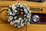 The sad news of the passing of our recent chairman Roy Perkins was marked by RB004 operating throughout the weekend with a wreath.