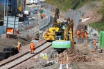 A busy scene at the new Galashiels station with lots of plant and manpower in action.