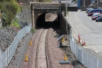 The view from the new footbridge, looking through Buckholmside tunnel towards Galashiels station