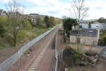 Looking towards Galashiels with work ongoing to re-instate the 'black path along this section.