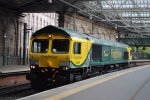 The newly named 66528 'Madge Elliott MBE' seen standing in the platform after the ceremony.