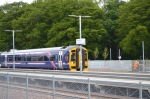 This is the arrival of the fourth train of the day to Tweedbank at around 10.00 am.   Photograph: Jim Dick