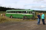 The bus awaits depart back to the model railway exhibition in Hawick.
