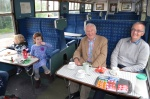 Lord David Steele relaxing in the buffet car during a family visit to Whitrope. He was very impressed with the whole visit and ask for his congradulations to be passed on to all the volunteers that have worked so hard to achieve everything on site.