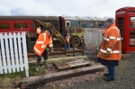 Peter and Tom lay sleepers that will act as foundations for the old toilet shed, which is being given a new lease of life as a ticket booth this season.