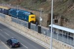 D9009 Alycidon roars through the new Galashiels station on her way to Tweedbank