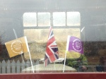 Flags and bunting from the opening of the new Borders Railway residing in the buffet coach.