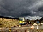 Under storm laden skies, RB004 sits at the level crossing, during a shunt to get everything in position ready for a visit by Borders College students on Wednesday.