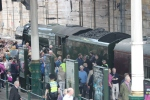 The Flying Scotsman arrives in Edinburgh Waverley station.
